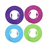 SEGMOI(TM) 4Pack 3Meter 10Ft Extra Long Lightning 8Pin To USB Data Sync & Charging Cable Charger Cord Power Lead Adapter For iPhone 5 5S 6 6S 6Plus iPad 4 5 Air Mini iPod Touch(Blue,Green,Purple,Hot Pink)