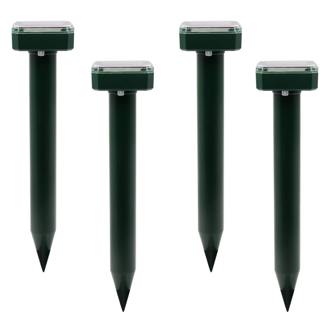 XIAXIA 4pack Mole Repeller Solar Powered Repel Voles/Gopher/ Mice/Snake/ Chipmunk with Outdoor Ultrasonic Rodent Repellent. Rid Moles in Lawn Garden. Pest Control, High Frequency in Ground Sonic Pulse