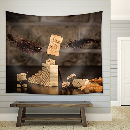 Concept Pre Flightl with Wine Cork Figures Fabric Wall Tapestry