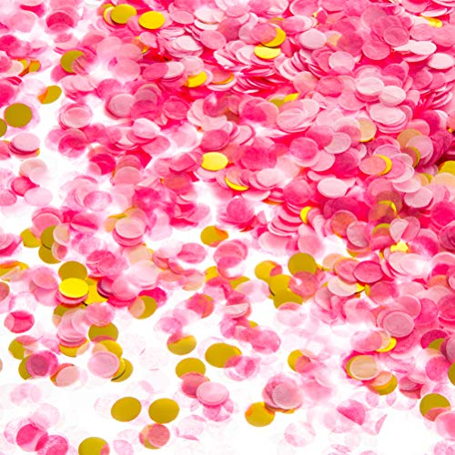 MOWO Tissue Paper Confetti Circle Dots for Table Wedding Birthday Party Decoration, 1cm in Diameter (Gold,Pink,hot Pink,60 Grams)