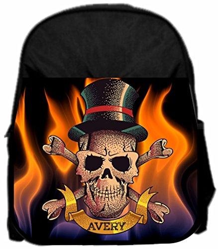Flaming Skeleton Lea Elliot TM Custom PreSchool Backpack - 13