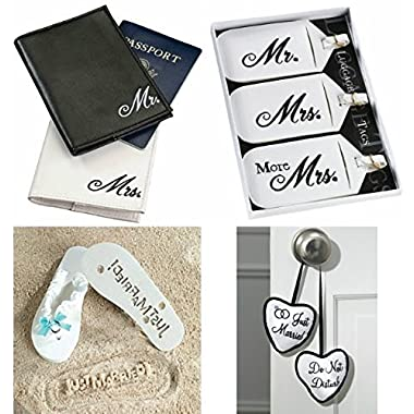 Honeymoon Gift Package, Includes: Mr & Mrs Passport Cover, Mr & Mrs Luggage Set, Just Married - Do Not Disturb Door Hanger & Just Married Flip Flops (Flip Flops Size 7/8)
