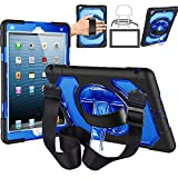 Lightweight iPad 9.7 2017 2018 Case with 360 Degree Rotary Kickstand, Leather Hand Strap, Shoulder Strap, Hybrid Full Body Rugged Protective Case for iPad 9.7 5th/6th Gen (Clear Blue)