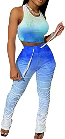 Womens Sleeveless Round Neck Tank Tops Jumpsuit Playsuit Tracksuit Long Pants