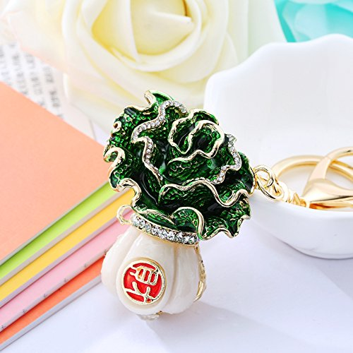 Women's Gold Plated Crystal Key Rings Green Cabbage Pendant Keychain Purse Drop Ornament (Cabbage)