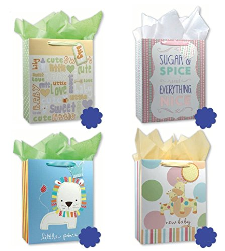Baby Shower Party Gift Bags Set of 4 Large Birthday Gift Bags w/ Lion, Giraffe, and More Tags, and Tissue Paper for Boys, (Baby Shower Gift Bags)