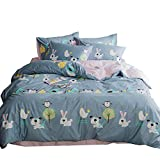 ORoa Cartoon Animal Color Rabbit Cotton Home Textile Bedding Set with Pillow Shams Lightweight Duvet Cover Sets for Kids Teens Twin 3 Piece Reversible Pink Blue (Twin, Style 2)