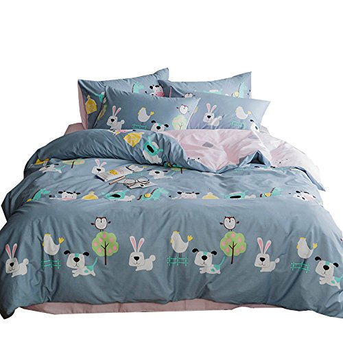 ORoa Cartoon Animal Color Rabbit Cotton Home Textile Bedding Set with Pillow Shams Lightweight Duvet Cover Sets for Kids Teens Twin 3 Piece Reversible Pink Blue (Twin, Style 2) by ORoa