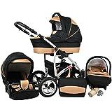 Kinderwagen Largo, 3 in 1- Set Wanne Buggy Babyschale Autositz Schwarz + coffe
