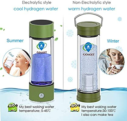 GOSOIT Hydrogen Alkaline Water Bottle with Tea Tumbler Infuser Double Wall Tea Bottle Glass Hydrogen Alkaline Water Maker Machine Make Hydrogen Content Up to 800-1200 PPB and PH of 7.5-9.0