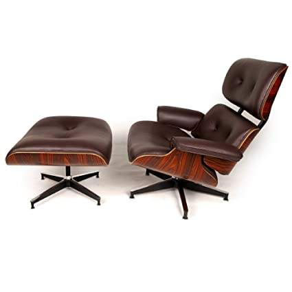 Excellent Charles Eames Inspired Leather Lounge Retro Chair Ottoman Brown Uwap Interior Chair Design Uwaporg