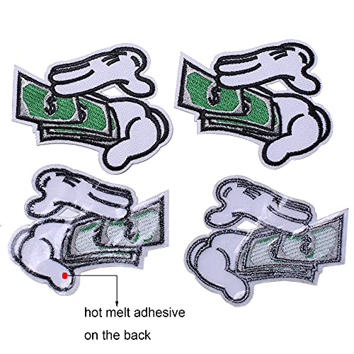J.CARP 5Pcs Counting Money Embroidered Iron on Patch for Clothes, Iron-on Patches / Sew-on Appliques Patches for Vest, Jackets, Backpacks, Caps, Jeans to Cover Holes / Logo