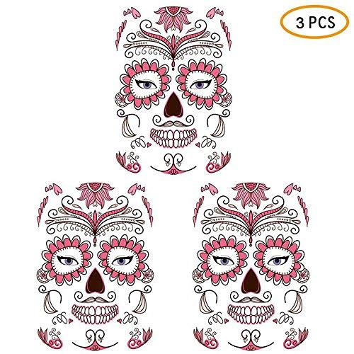 KOBWA 3 Pack Halloween Face Tattoo Sticker, Skull