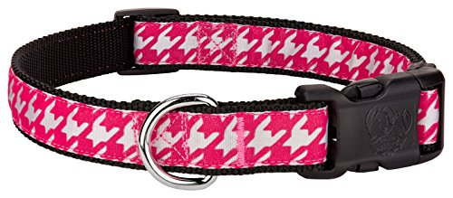 Country Brook Design - Deluxe Shock Pink Houndstooth on Black Dog Collar - Extra Large