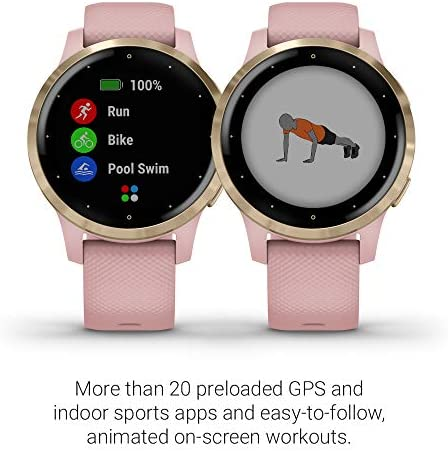 Garmin 010-02172-31 Vivoactive 4S, Smaller-Sized GPS Smartwatch, Features Music, Body Energy Monitoring, Animated Workouts, Pulse Ox Sensors and More, Light Gold with Light Pink Band