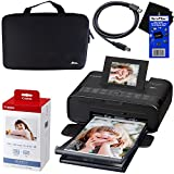 Canon Selphy CP1200 Wireless Color Photo Printer (Black) + Canon KP-108IN Color Ink Paper Set (Produces up to 108 of 4 x 6'' prints) + Xtech Custom Case + USB Printer Cable + HeroFiber Cleaning Cloth