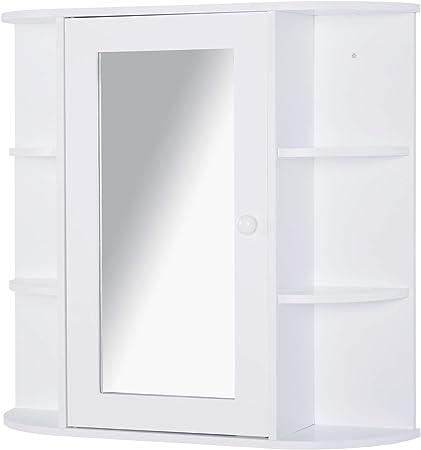 EUGAD Mobiletto Pensile da Bagno con Specchio Armadietto Bianco Lucido da Lavabo con 9 Ripiani in Legno 60x16x58cm 0022WY