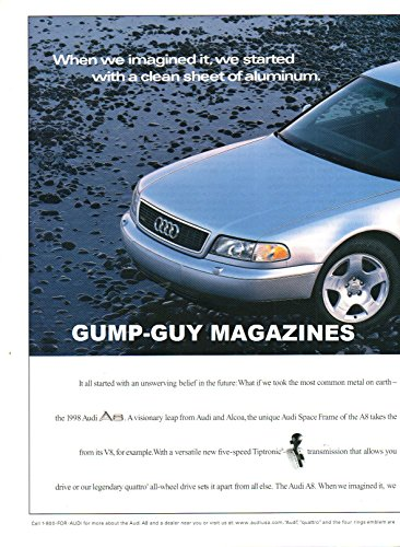 2 Page Magazine Print Ad From 1998 For THE AUDI A8. WHEN WE IMAGINED IT, WE STARTED WITH A CLEAN SHEET OF ALUMINUM