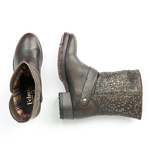 Felmini - Chaussures Femme - Tomber en amour avec Raisa 9025 - Bottines Cowboy & Biker - Genuine Cuir - Marron