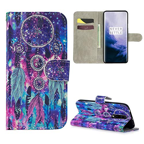 OnePlus 7 Pro Case 3D Colorful Painting Wallet Flip Folio Purse Kickstand Card Slots Lanyard PU Leather Wallet Drop Resistant Flexible Soft TPU Bumper Shell Protective Cover for OnePlus 7 -