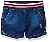 U.S. Polo Assn. Girls' Stretch Denim Striped Rib Waistband Denim Pull on Short