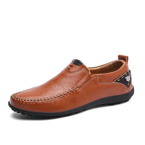 Mocasines con Cordones para Hombres Mocasines con Capucha de Cuero del Pedal Suave y Ligero Transpirable (Color : Marrón, tamaño : 38 EU): Amazon.es: ...
