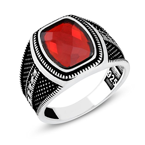 Men's 925 Sterling Silver Handmade Ring with Red Cubic Zirconia and Marcasite (10)