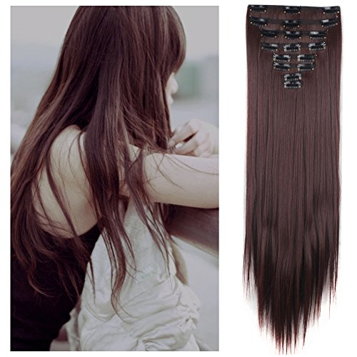 [FUT Full Head 18 Clips in 8 PCS Double Weft Synthetic Hair Pieces Extensions Straight 23inch 175g for Girl Lady Women Dark] (Hsm Costumes)