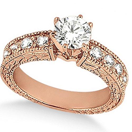 Women's Preset Vintage Heirloom Round Diamond Engagement Ring in 18k Rose Gold (3.50 carat) ()