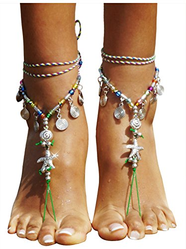 Bienvenu Bohemia Style Wedding Barefoot Sandals Beach Anklet Chain Foot Jewelry, Silver_Star