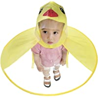 Duck Raincoat - Aolvo UFO Raincoat Cute Cartoon Duck Umbrella for Kids Foldable Toddler Rain Jacket Hands Free Poncho Waterproof Cloak with Hood for Baby Boys and Girls, Small Size (Yellow Duck)