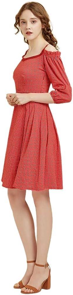 Snowyinglan Women's Plaid Dress Waist Casual Party Plaid Dress Plaid Dress for Women: Clothing