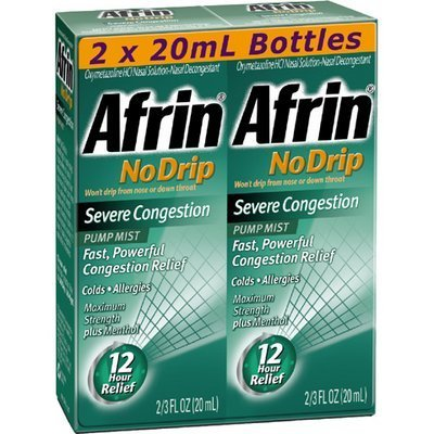 Afrin No Drip 12-Hour Pump Mist, Severe Congestion - 2 Pumps Each 2/3 oz - Total 1.33 oz