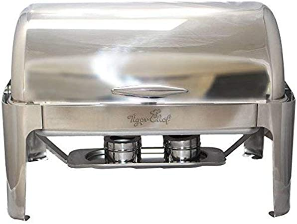 Tiger Chef Stainless Steel Roll Top Chafer, 8 Quart Chafing Dish Set with 2 Chafing Dish Fuel Gels and a Plastic Serving Tong 3