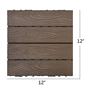 Set of 12 Interlocking Patio Flooring Tiles in Coffee, Indoor Outdoor Deck and Patio Flooring Wood-plastic Material Composite Tile, 12 x 12 Inch