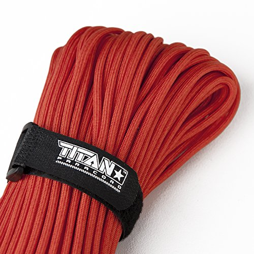 TITAN WarriorCord | RED | 103 CONTINUOUS FEET | Exceeds Authentic MIL-C-5040, Type III 550 Paracord Standards. 7 Strand, 5/32