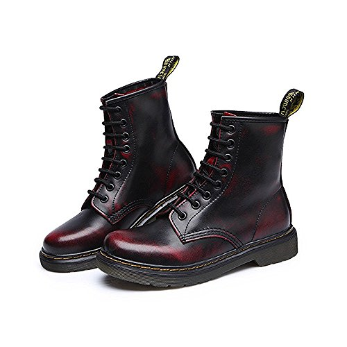 Toe Lase Black Ladies Lined up Combat Women's Fashion Leather Boots Round Ankle Fur Boots Modemoven Red Booties Martens qE0gtT0