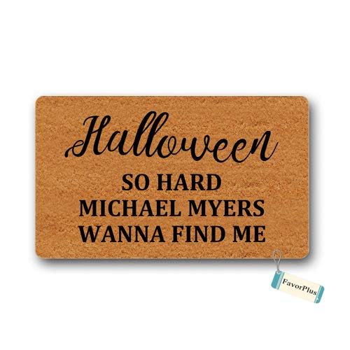 Doormat Halloween So Hard Michael Myers Wanna Find Me Outdoor/Indoor Non Slip Decor Funny Floor Door Mat Area Rug for Entrance 15.7x23.6 inch]()