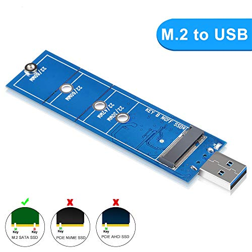 ELUTENG M.2 SSD to USB 3.0 Adapter, M2 SSD Enclosure Compatible for SATA B & B+M Key NGFF USB Coverter Card 5Gbps Support 2230 2242 2260 2280 NGFF SSD (NOT for NVME)