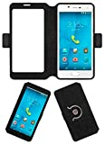 Acm SVIEW Window Designer Rotating Flip Flap Case for Micromax Canvas Unite 4 Plus Mobile Smart View Cover Stand Black