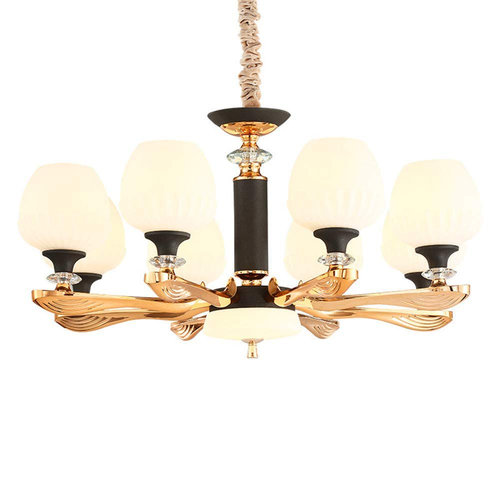 Modern 6 Arms Chandelier, European Style Chandeliers and Classic European Light Luxury Glass with Led Illuminated Lamp