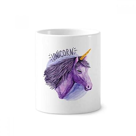 DIYthinker Circular púrpura de la acuarela de los unicornios de cerámica titular taza del cepillo de