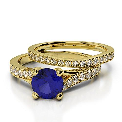 Or jaune 18carats 1CT G-H/VS sertie de diamants ronds Cut Saphir et mariée Bague de fiançailles et ensemble de Agdr-2011