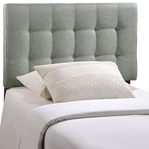 Modway Lily Upholstered Tufted Fabric Headboard Twin Size In Gray (Living Room Fabric Bed)