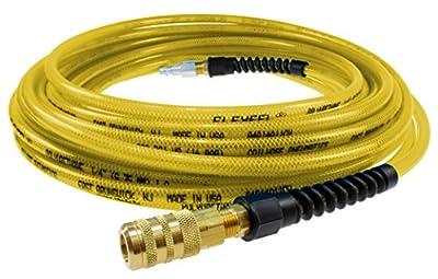 "Coilhose Pneumatics PFE4025TYS15X Flexeel Reinforced Polyurethane Air Hose, 1/4"" ID, 25' Length with 1/4"" Industrial Coupler & Connector, Transparent Yellow, Polyurethane"