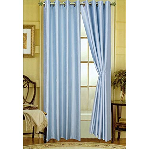 Light Blue Curtains Faux Silk Amazon Com