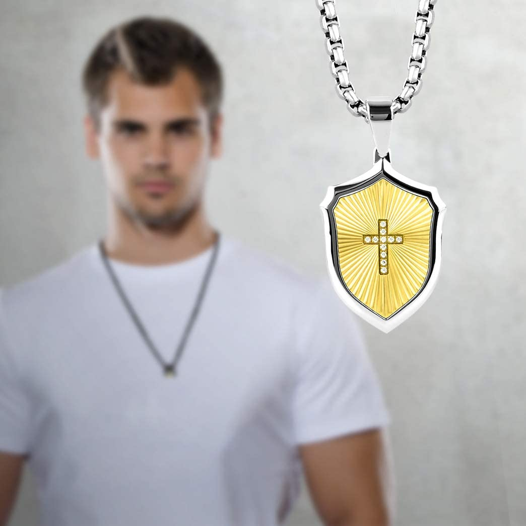 BUVE Cross Armor Shield 14K Gold Zircon Match Pendant Necklace With A Polished Silver CZ Cross Inlay Comes With A Stainless Steel 26 IN Rolo chain