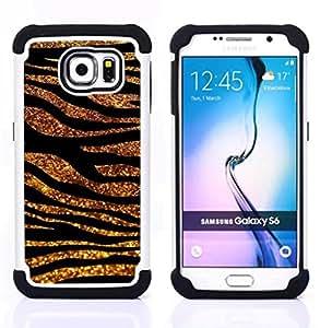 For Samsung Galaxy S6 G9200 - Gold Black Lines Glitter Zebra Fur Animal Dual Layer caso de Shell HUELGA Impacto pata de cabra con im????genes gr????ficas Steam - Funny Shop -