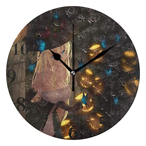 Ladninag Wall Clock Special Anime Halloween Wallpaper Silent Non Ticking Decorative Round Digital Clocks for Home/Office/School Clock