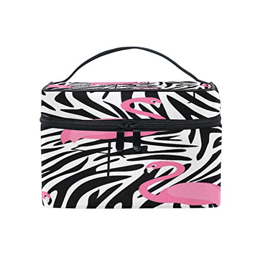 Toprint Large Makeup Bag Organizer Animal Flamingo Zebra Print Cosmetic Case Bag Toiletry Storage Portable Zipper Pouch Travel Brush Bag for Women Lady